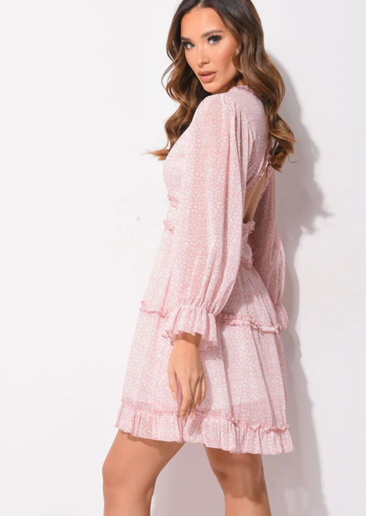 Frilled V Neck Tiered Mini Dress Animal Print Pink