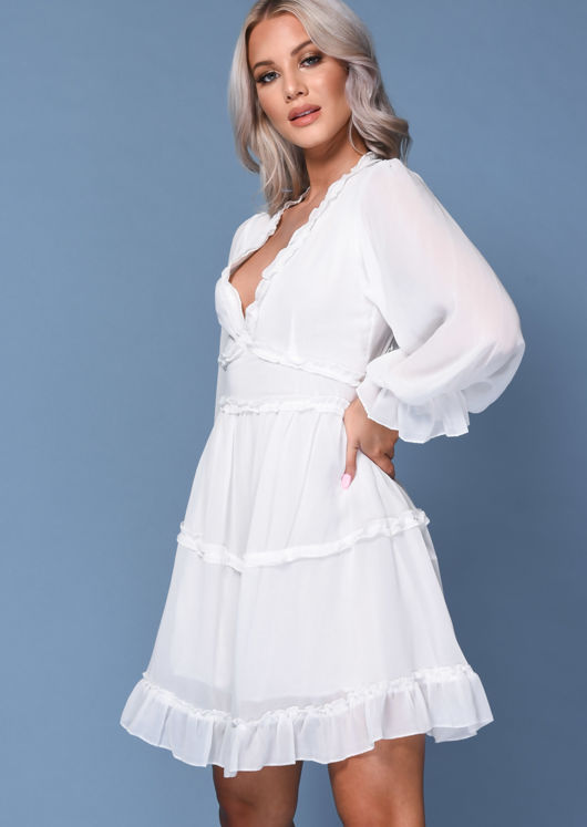 Frilled V Neck Tiered Mini Dress White