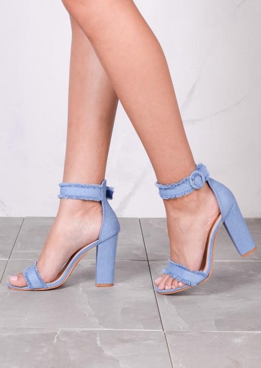 8994183f2 Buckle Detail Chunky Heeled Sandals Light Denim Blue