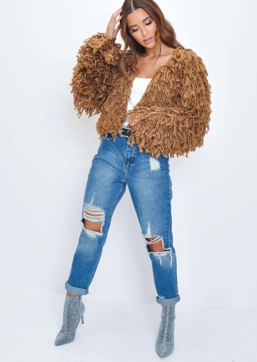 Fringe Textured Macrame Wool Jacket Brown