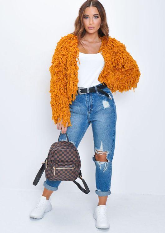 e925322abb2c Fringe Textured Macrame Wool Jacket Orange