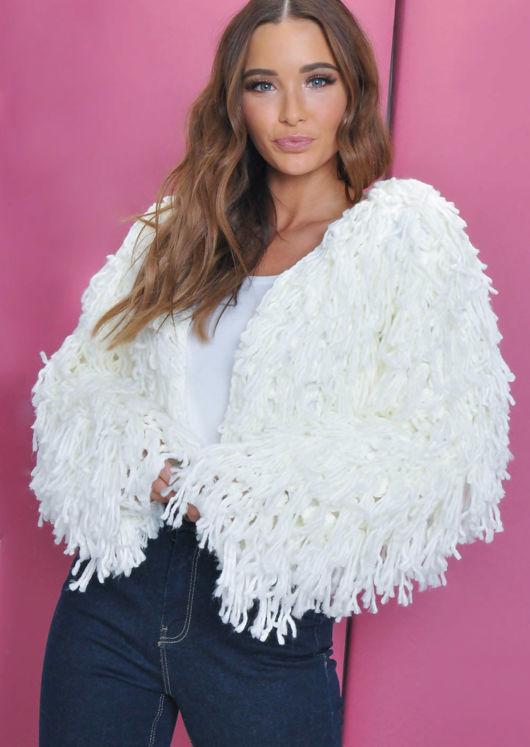 Fringe Textured Macrame Wool Jacket White