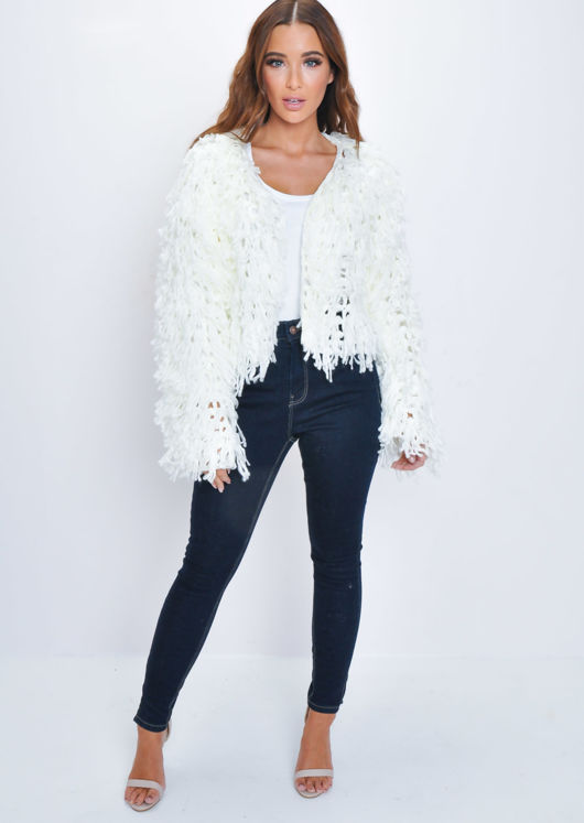 Fringe Textured Macrame Wool Jacket White