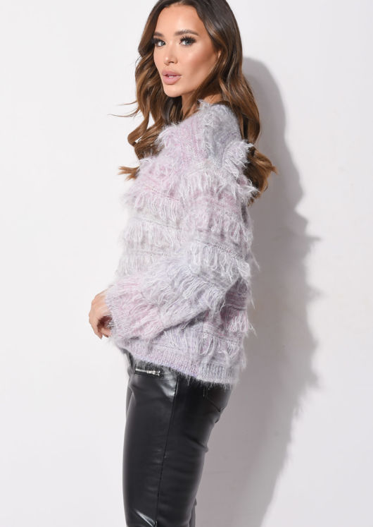 Fringed Mohair Fluffy Crew Neck Jumper Multi