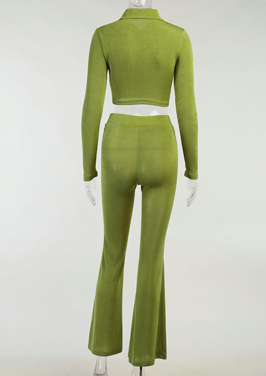 Front Button Down Collared Crop Top And High Waist Flared Pants Co-Ord Set Green