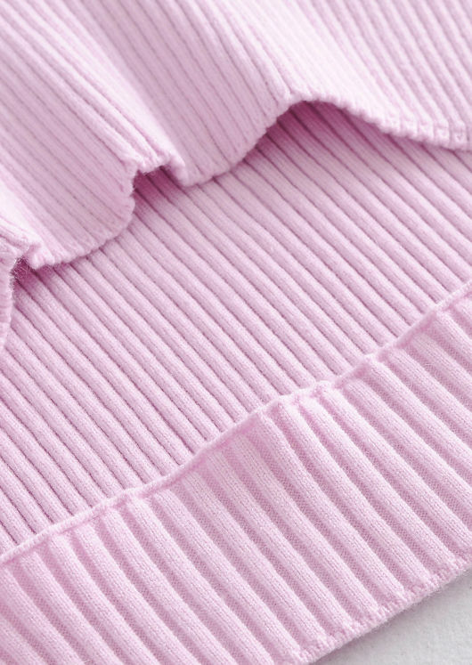 Front Cut Out Rib Knit Loungewear Sweater Top Pink