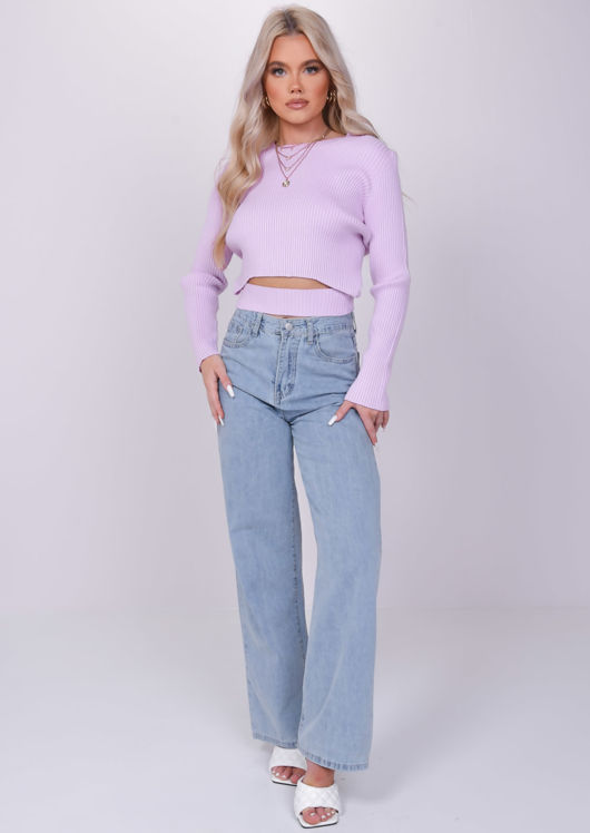 Front Cut Out Rib Knit Sweater Crop Top Pink