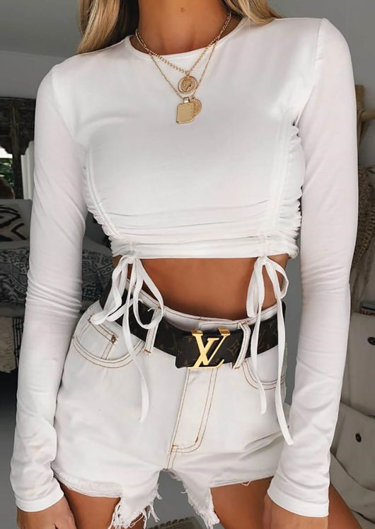 Front Double Drawstring Detail Long Sleeve Crop Top White
