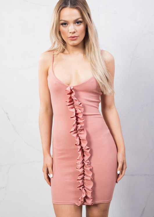 Front Frill Strappy Plunge Bodycon Dress Blush Pink