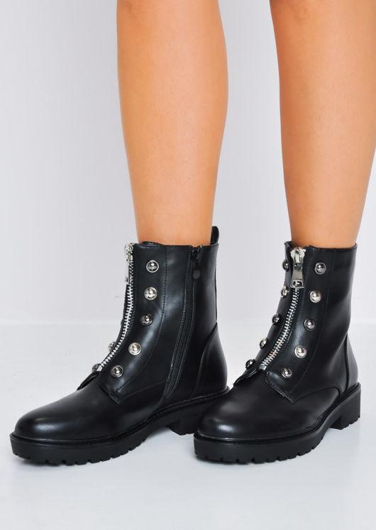 Front Metal Zip Combat Biker Ankle Boots Black