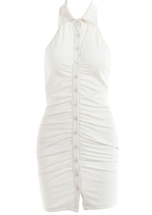 Front Ruched Button Down Halterneck Ribbed Mini Dress White