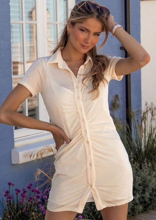 Short Sleeve Front Ruched Collared Button Down Mini Shirt Dress Beige