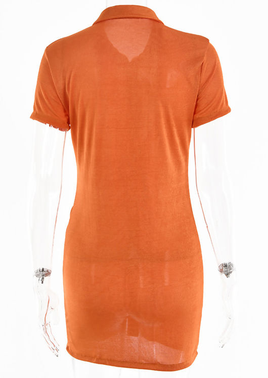 Front Ruched Collared Button Down Mini Dress Orange