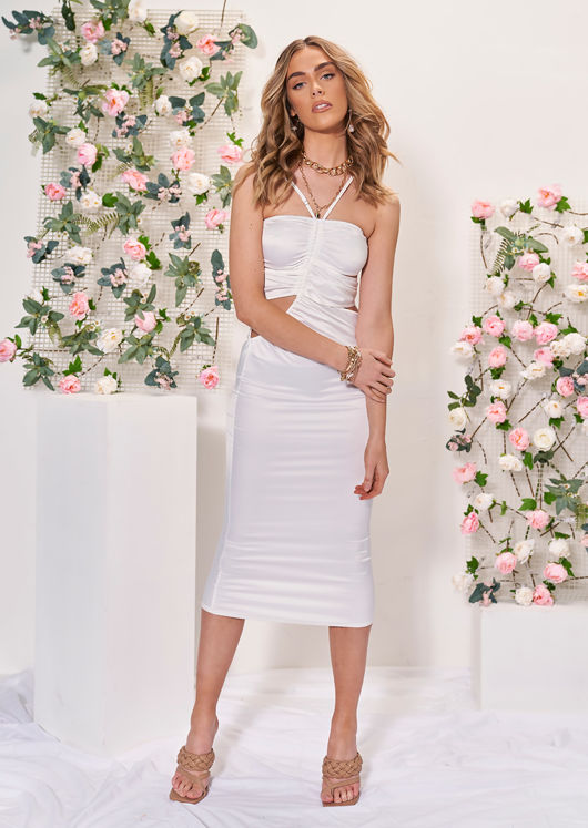 Front Ruched Halterneck Strapped Side Cut Out Midi Dress White