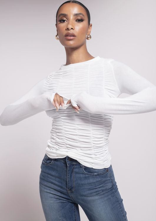 Front Ruched Long Sleeves Round Neck Top White