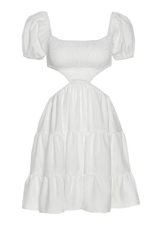 Front Shirred Elasticated Puff Sleeved Side Cut Out Mini Dress White