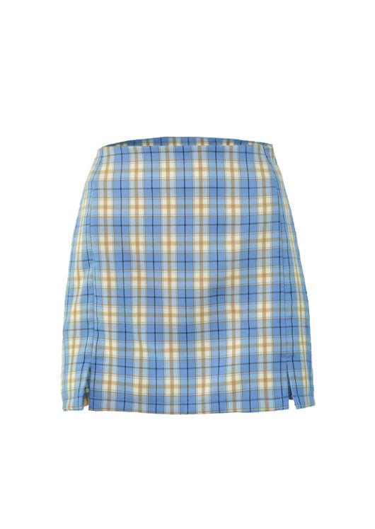 Front Split Checked Mini Skirt Light Blue