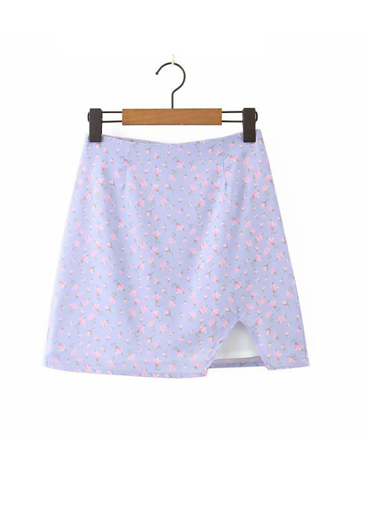 Front Split Floral A Line Mini Skirt Purple