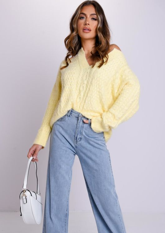 Front Split High Neck Oversize Cable Knit Sweater Top Yellow