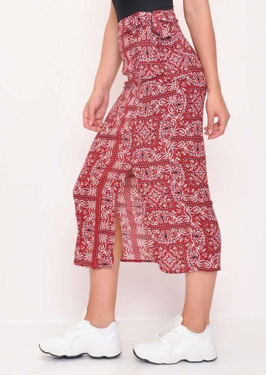 Front Split Paisley Midi Skirt Multi