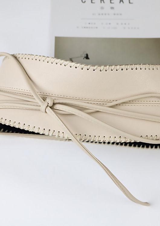 Front Tie Pu Stitched Waist Belt Beige