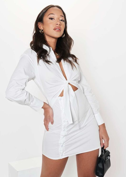 Knot Front Side Buttoned Collared Mini Shirt Dress White