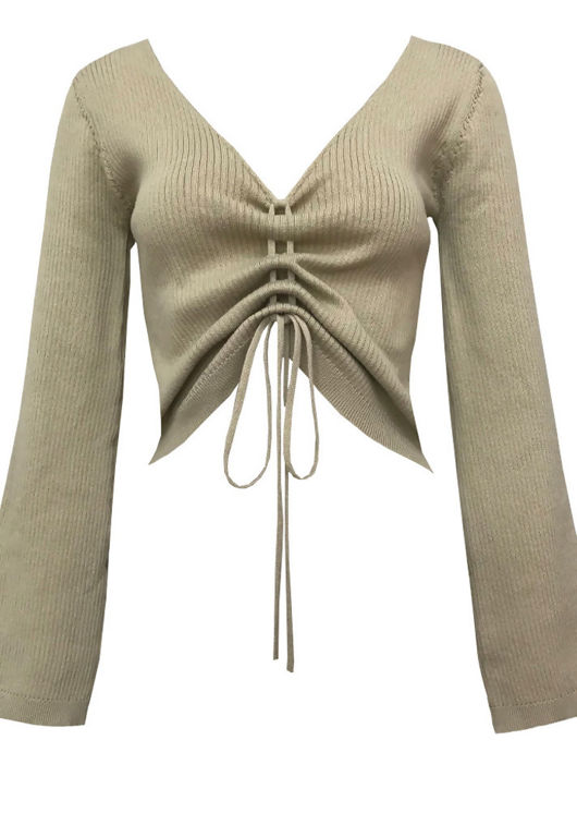 Front Visible Ribbed Ruched Drawstring Crop Top Beige