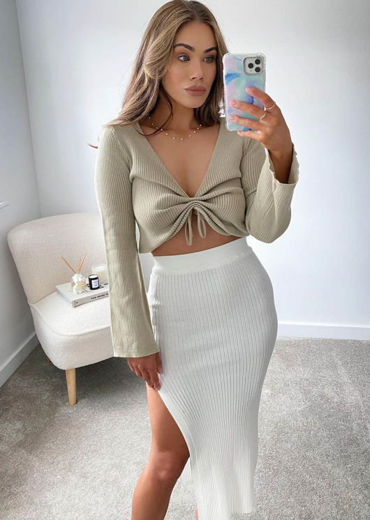 Front Ribbed Ruched Drawstring Crop Top Beige