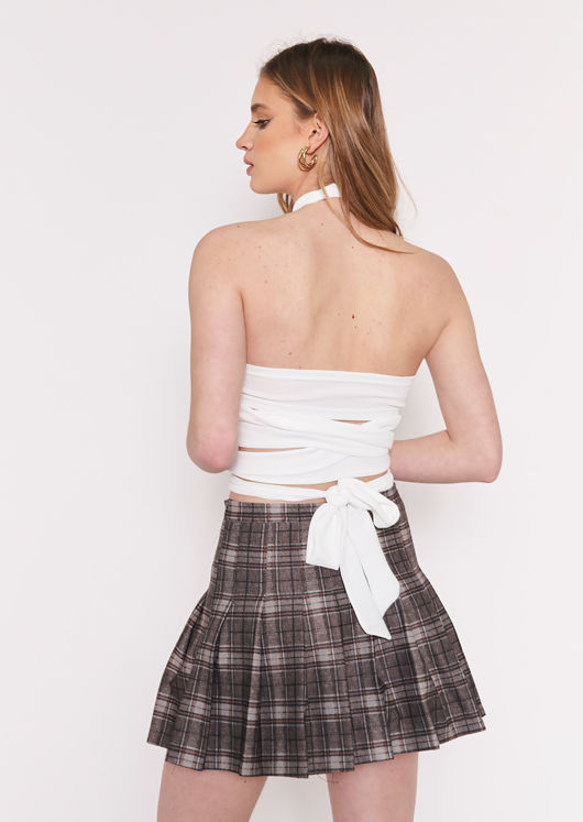 Front Wrap Open Back Tie Halterneck Crop Top White