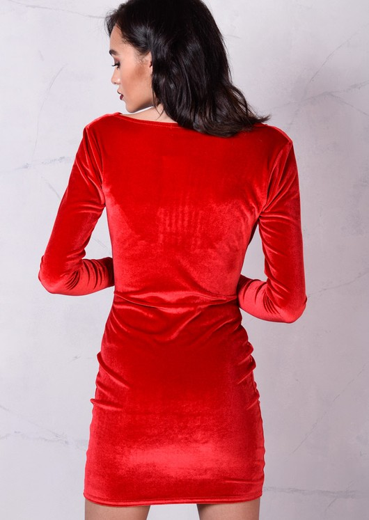 Full Sleeve Cowl Neck Velvet Bodycon Dress Red