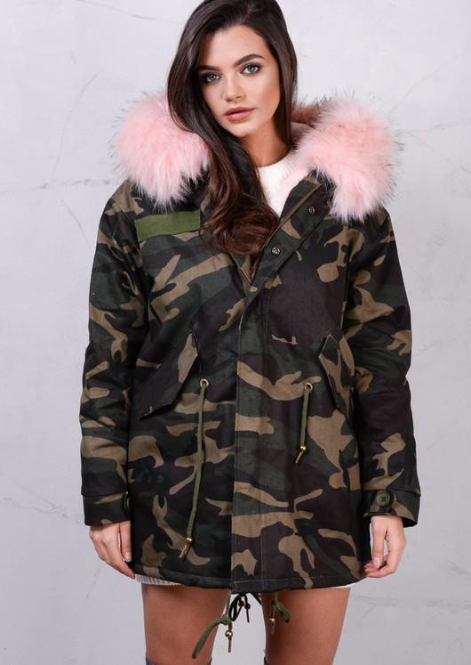 Fully Fleeced Camo Parka with Pink Fur Hooded Khaki Green