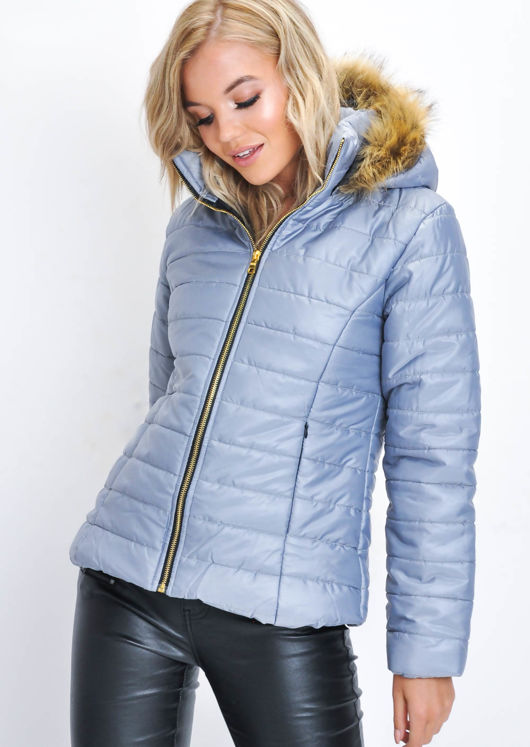 Faux Fur Lined Hooded Padded Puffer Coat Grey