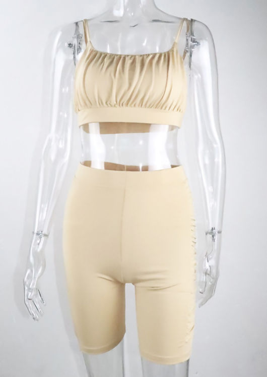 Gathered Crop Top and Ruched Side Cycling Shorts Loungewear Set Beige