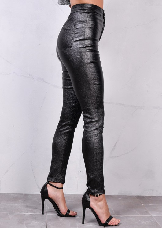 Gilittery High Waisted Faux Leather Look Jeans Black