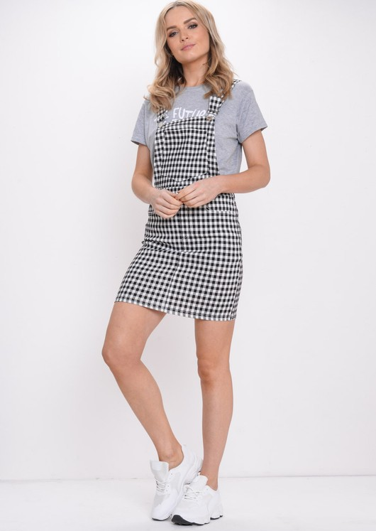 Gingham Denim Dungaree Pinafore Dress Multi