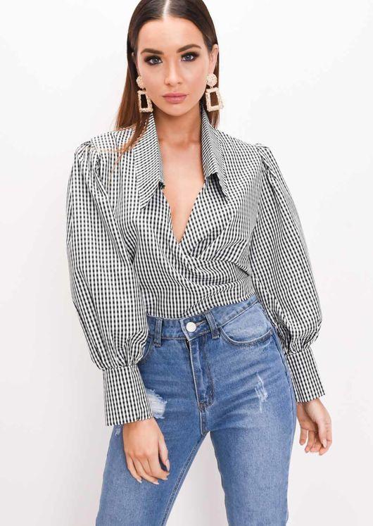 Gingham Tie Front Crop Shirt Black