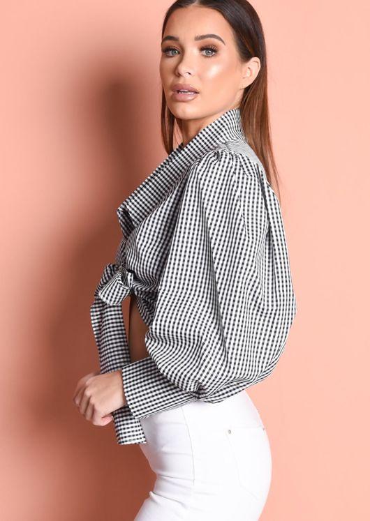 Balloon Sleeve Gingham Tie Front Crop Shirt Top Black