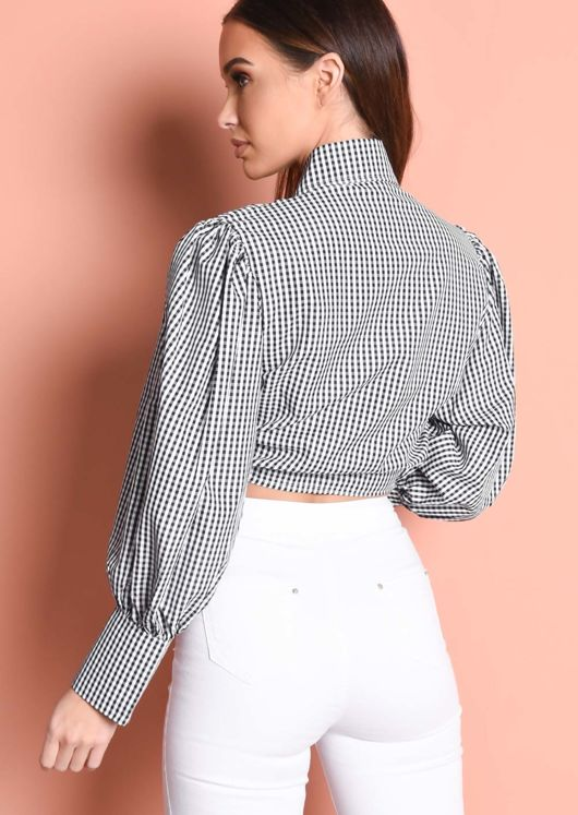 Balloon Sleeve Gingham Tie Front Crop Shirt Top Black