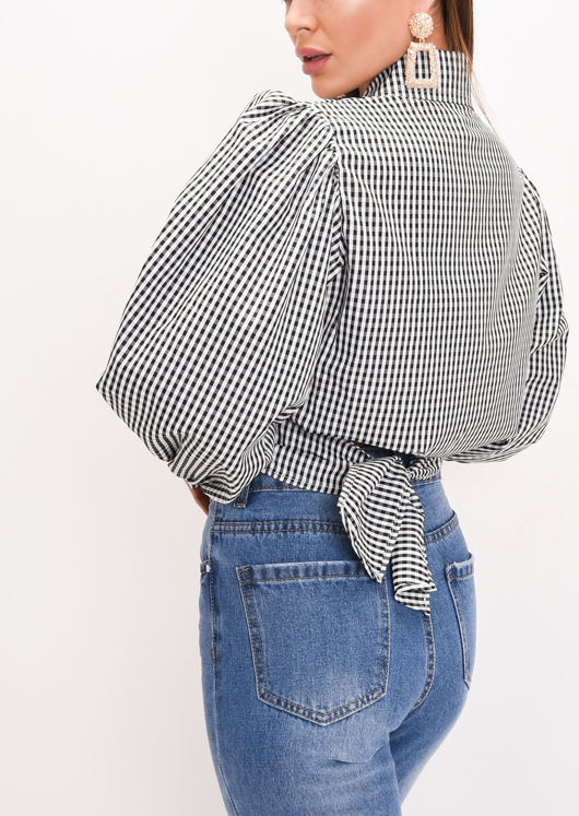 Gingham Tie Front Crop Shirt Black