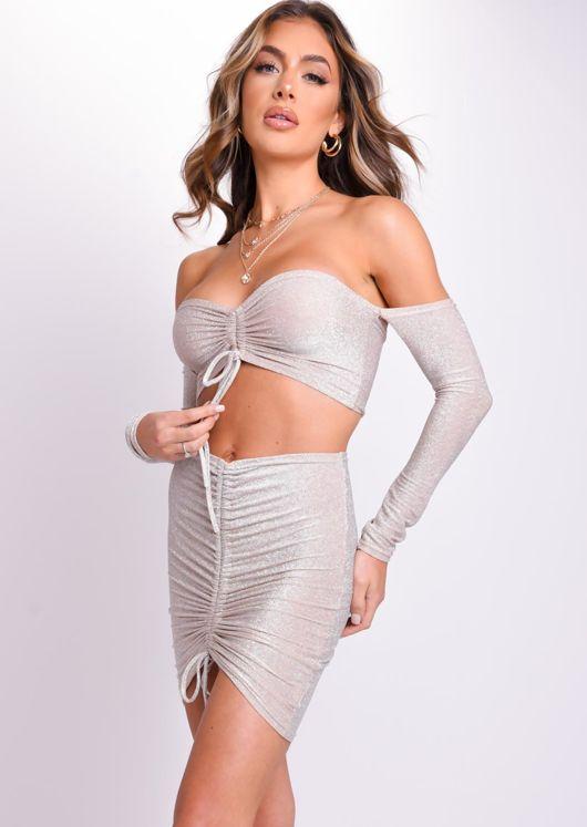 Glitter Bardot Long Sleeve Drawstring Crop Top Mini Skirt Co Ord Set Beige