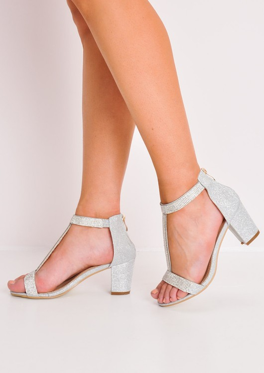 Glitter Diamante T-Bar Block Heels Silver
