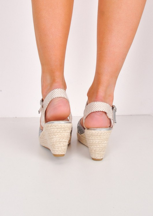 Glitter Espadrille Wedge Sandals Silver