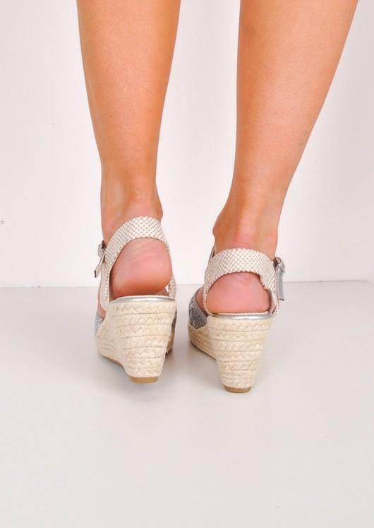 Glitter Espadrille Wedge Sandals Silver