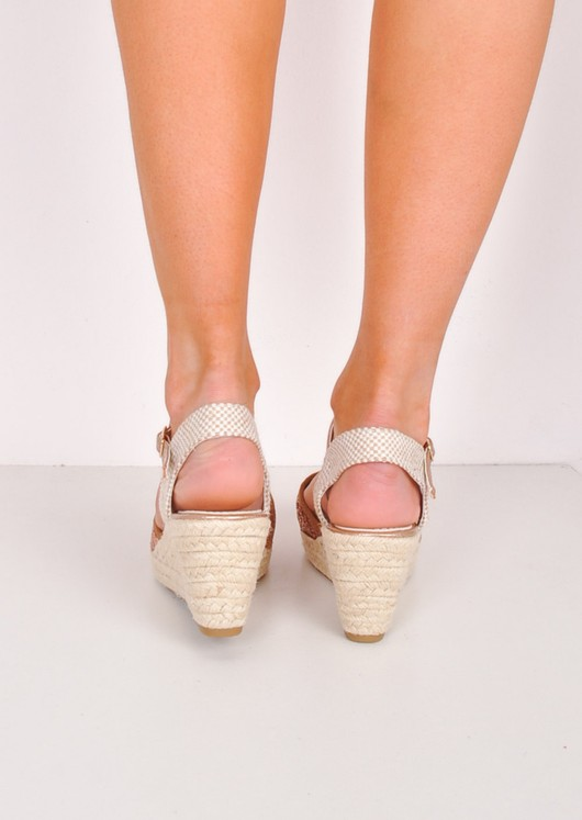 Glitter Espadrille Wedge Sandals Gold