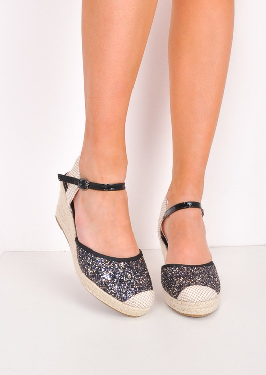 Glitter Espadrille Wedge Sandals Black