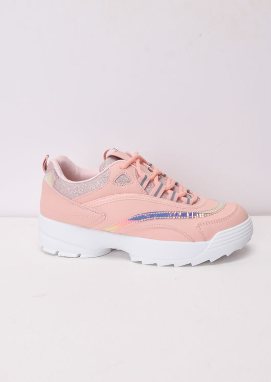Glitter Iridescent Panel Chunky Sole Trainers Pink