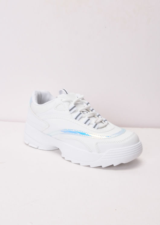 Glitter Iridescent Panel Chunky Sole Trainers White
