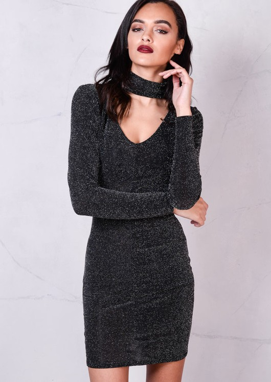 Glitter Long Sleeve Bodycon Dress with Choker Details Black