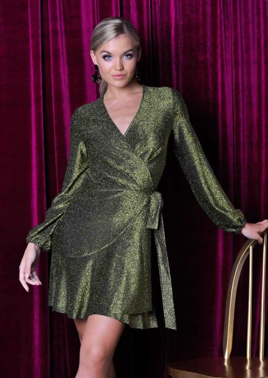 Glitter Lurex Pleated Wrap Over Mini Dress Gold