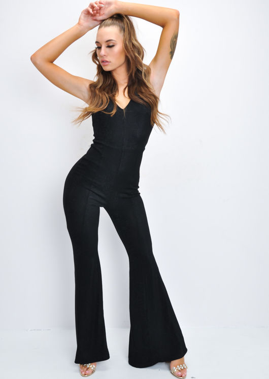 c248036c87 Glitter Lurex Sleeveless Flare Leg Jumpsuit Black